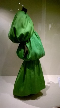Belenciaga green evening dress. V&A Exhibition, 2017.