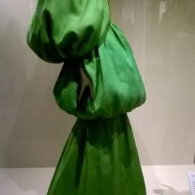 Belenciaga green evening dress. V&A Exhibition, 2017.
